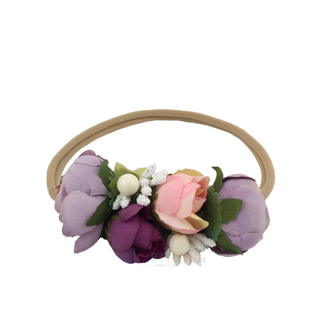 Svatební květinová čelenka fialová  59865d8380