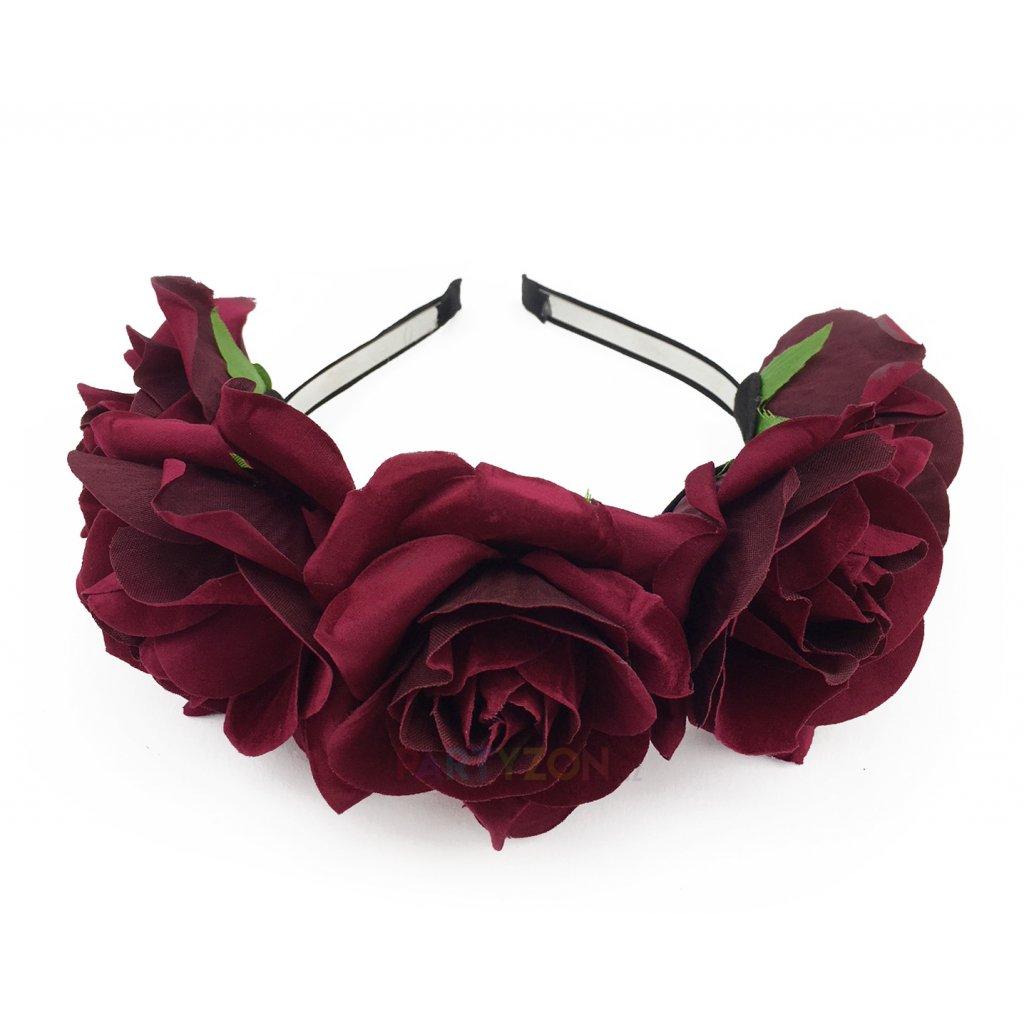 Květinová čelenka rudé růže  a5a9f876d4