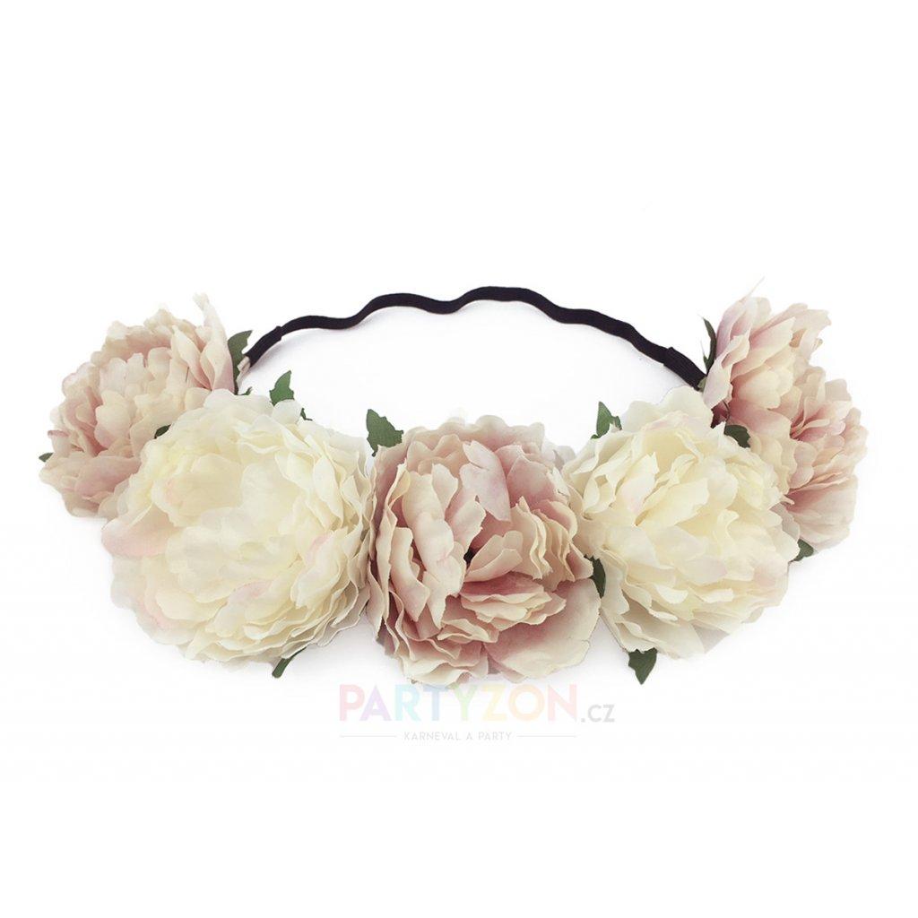 svatební květinová čelenka bílá