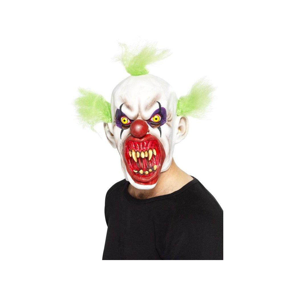 Strašidelná maska klauna zelené vlasy