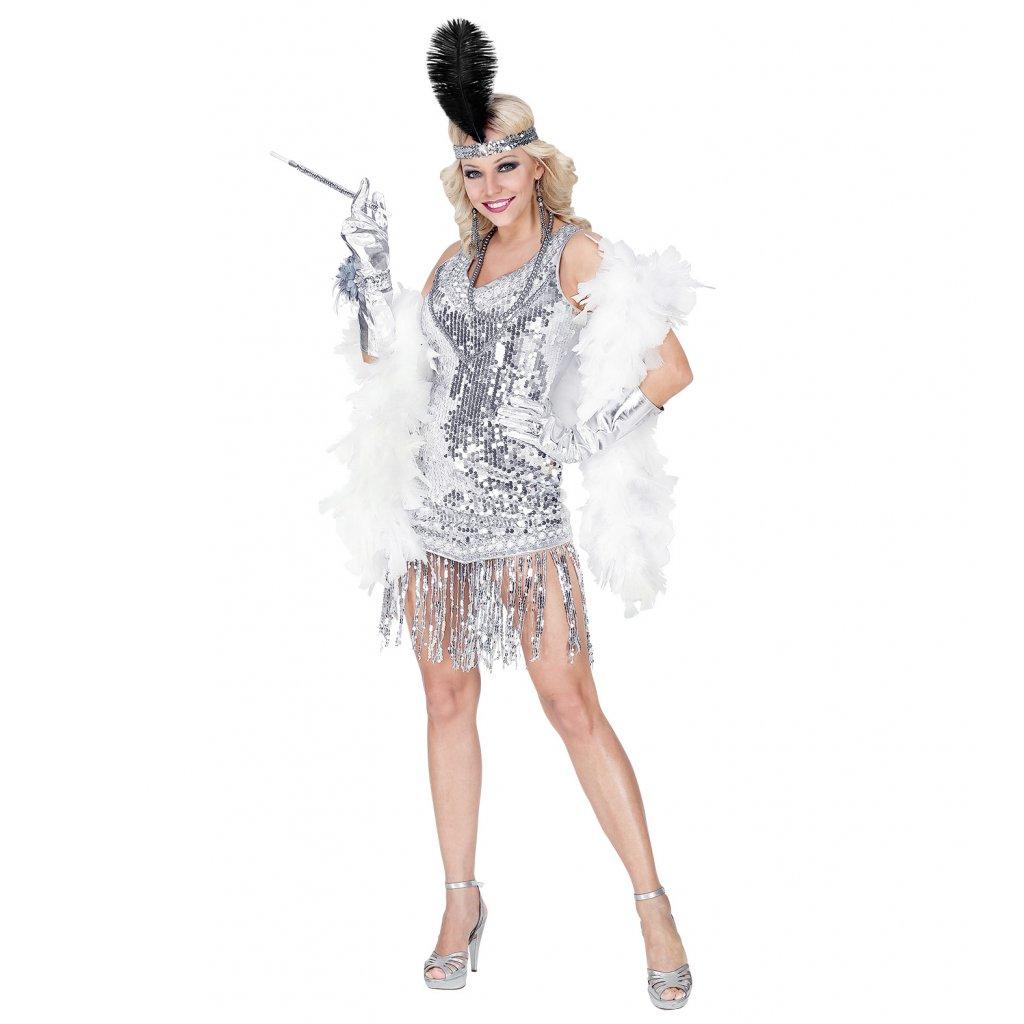 d25c07bbbb42 Dámský kostým stříbrný - šaty 30. léta