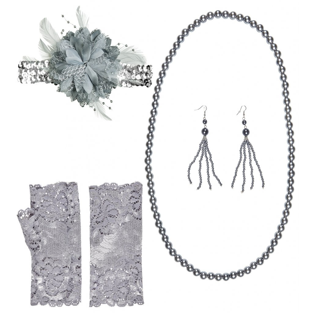 Flapper sada rukavice, čelenka, šperky