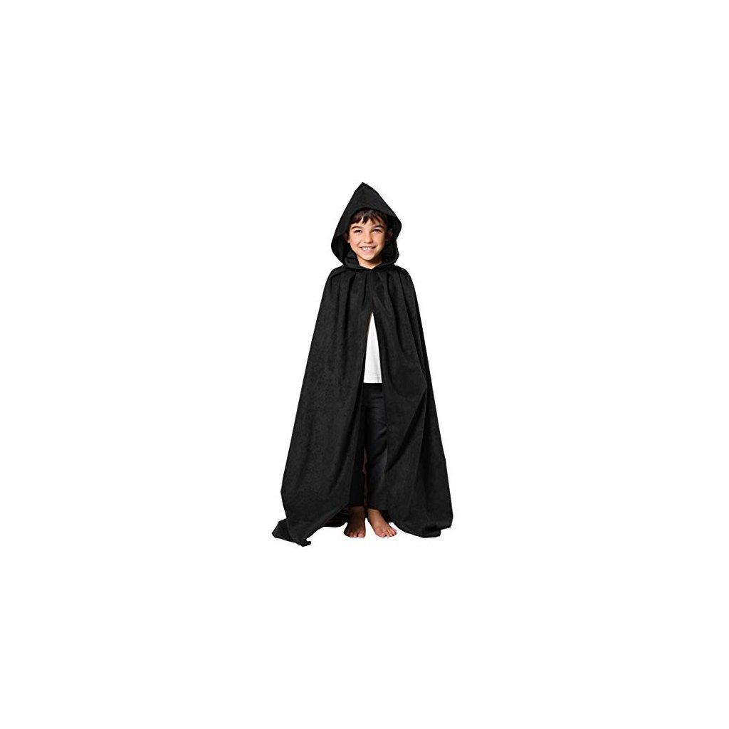 Černý plášť s kapucí 120 cm