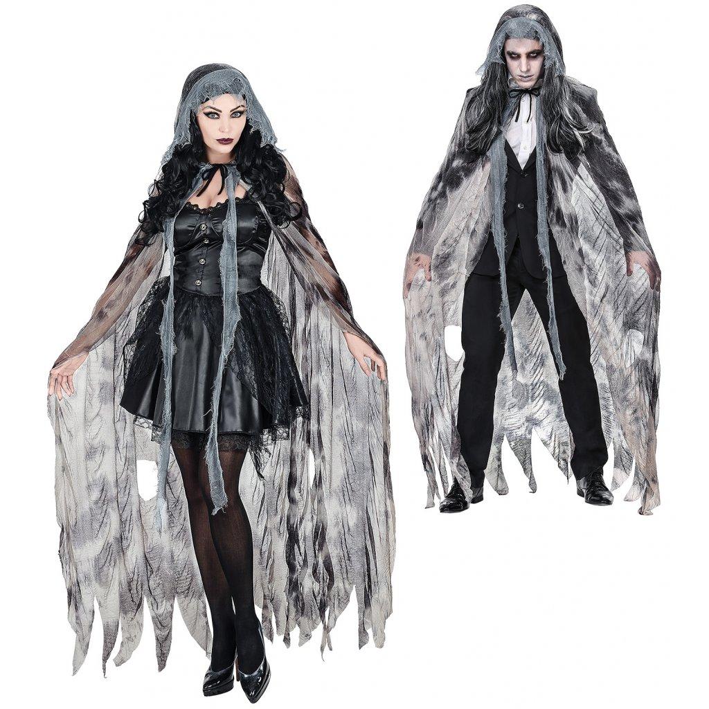 dlouhý šedý plášť s kapucí