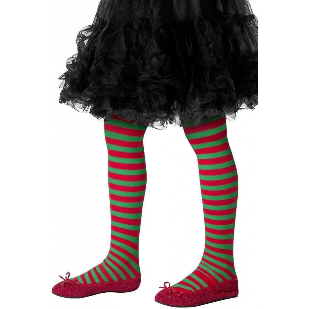 dětské punčocháče zelenočervené