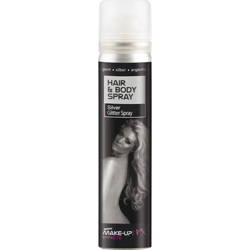 Třpytivý sprej na vlasy stříbrný