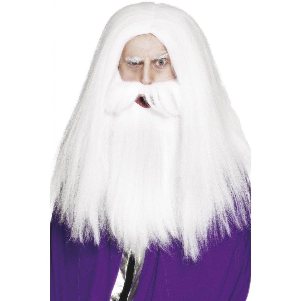 dlouhá bílá paruka s vousy