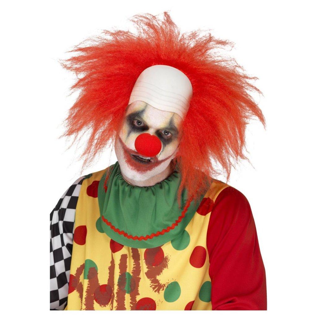 červená paruka klaun s pleší