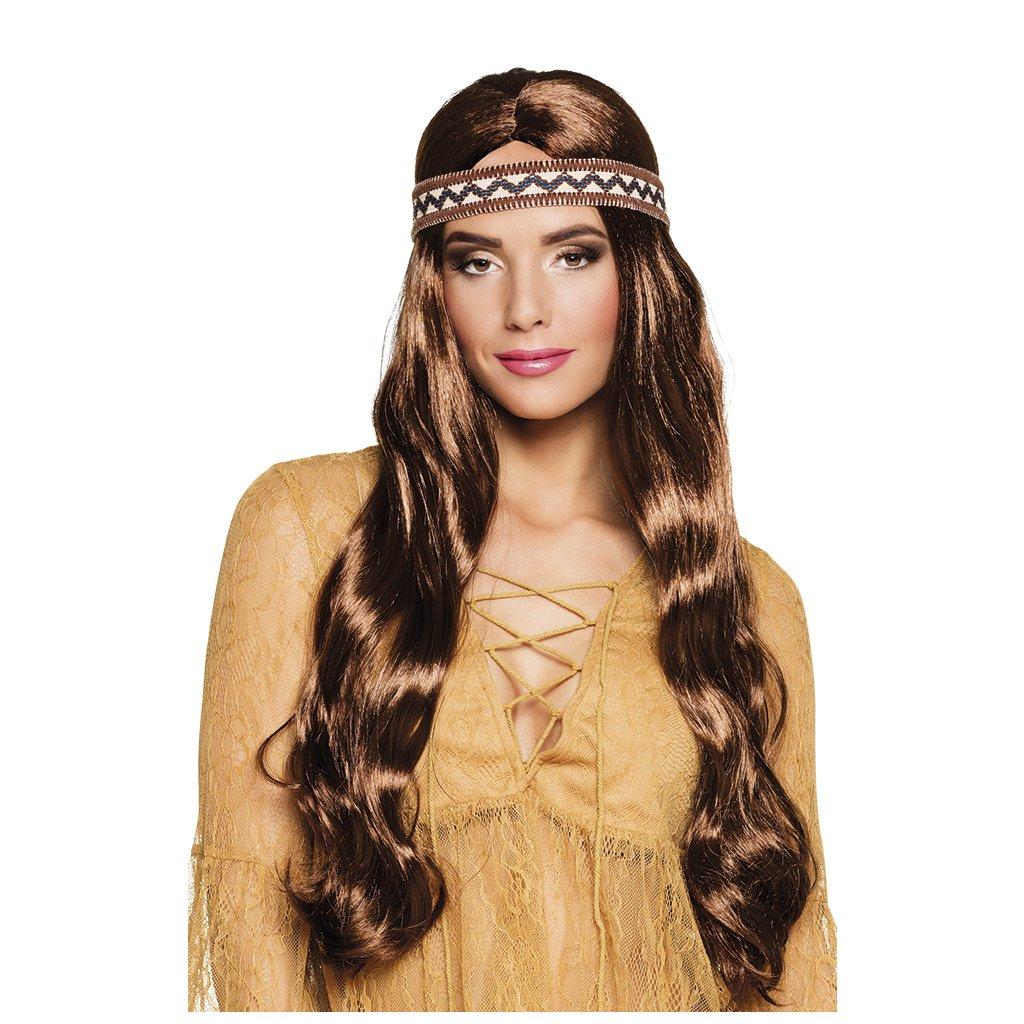 hnědá hippies paruka s čelenkou