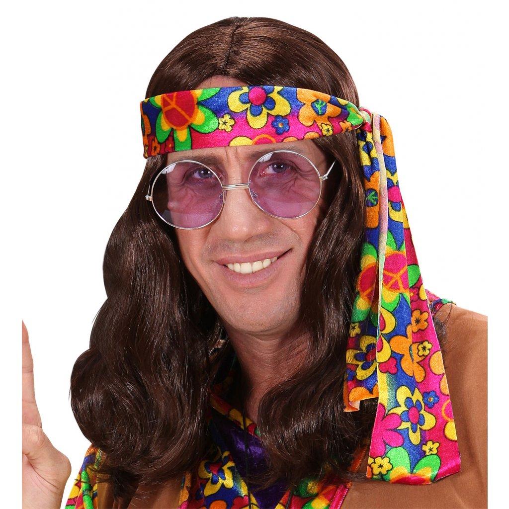 hnědá hippies paruka