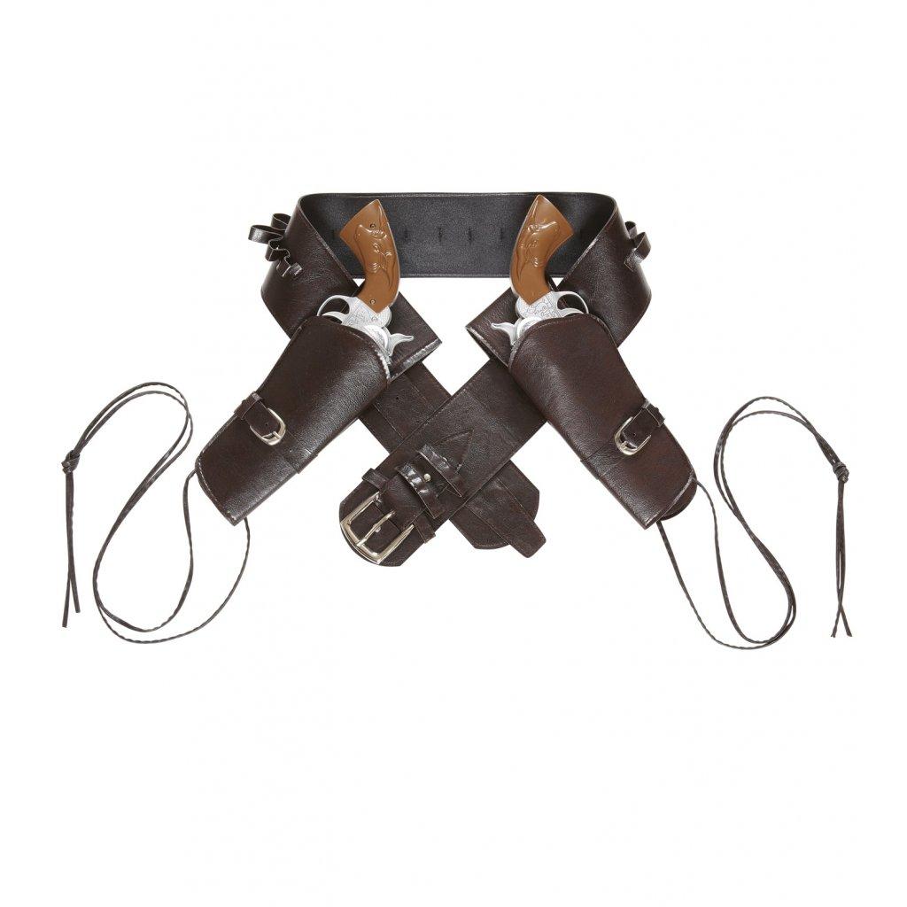 hnědý opasek s pouzdry na pistole