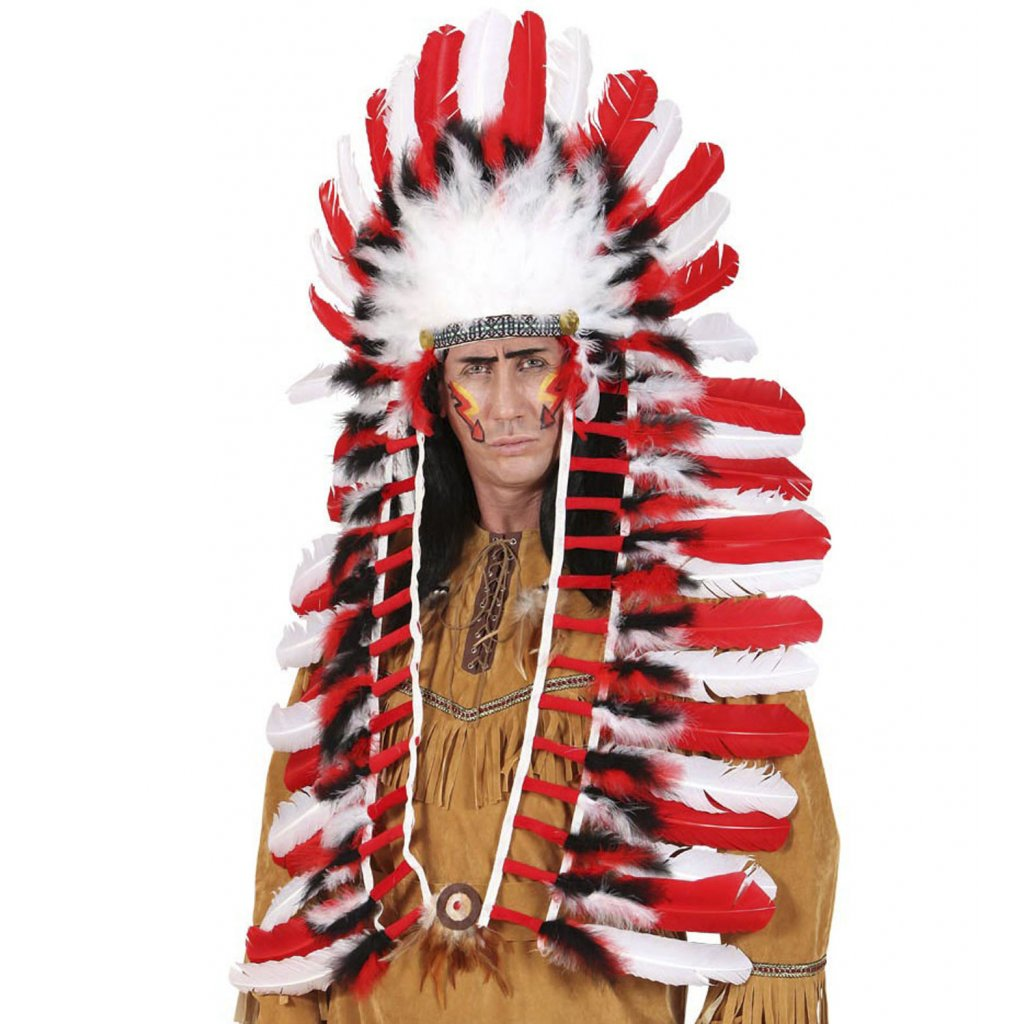dlouhá indiánská čelenka náčelník