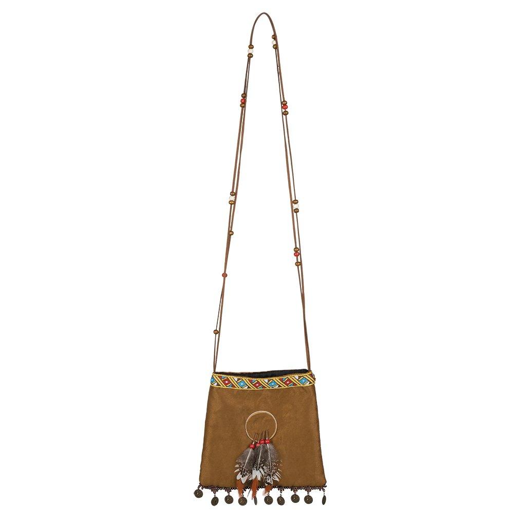 Hnědá indiánská kabelka s ozdobami