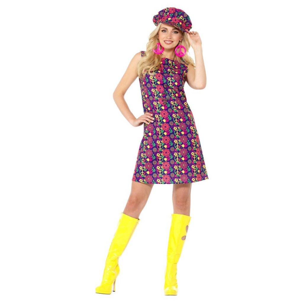 Barevné šaty hippie 60s