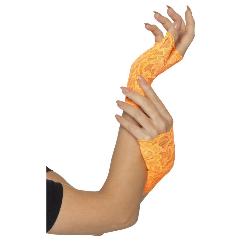 Krajkové rukavičky bez prstů (oranžové)