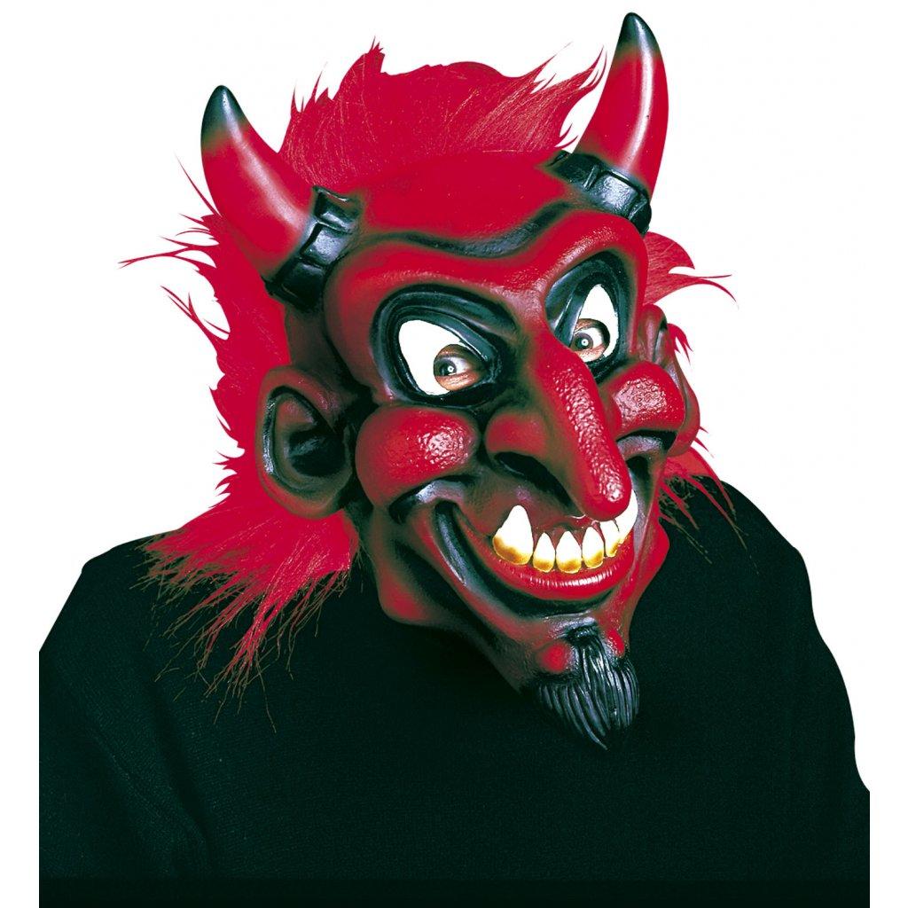Maska čerta s červenou parukou