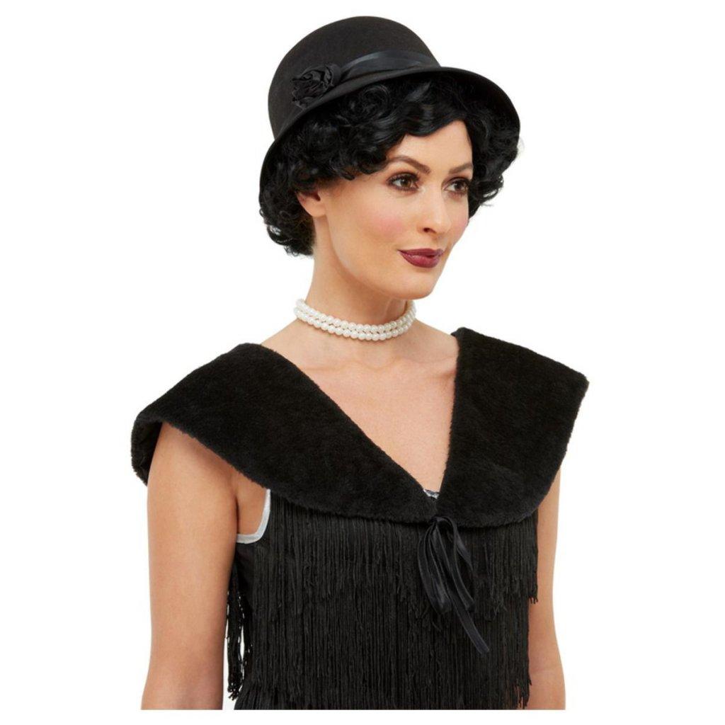 Sada černý klobouk a kožíšek