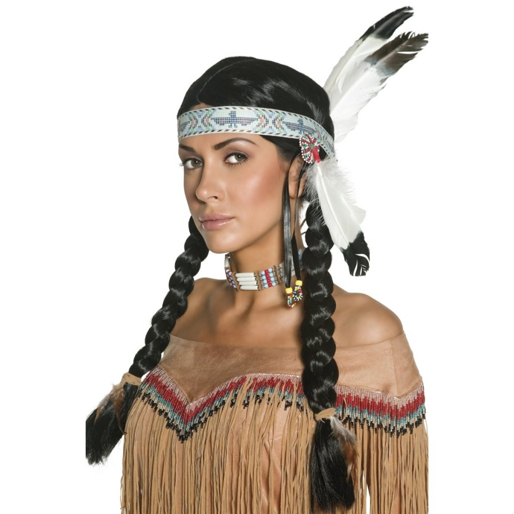 Indiánská paruka s copánky deluxe