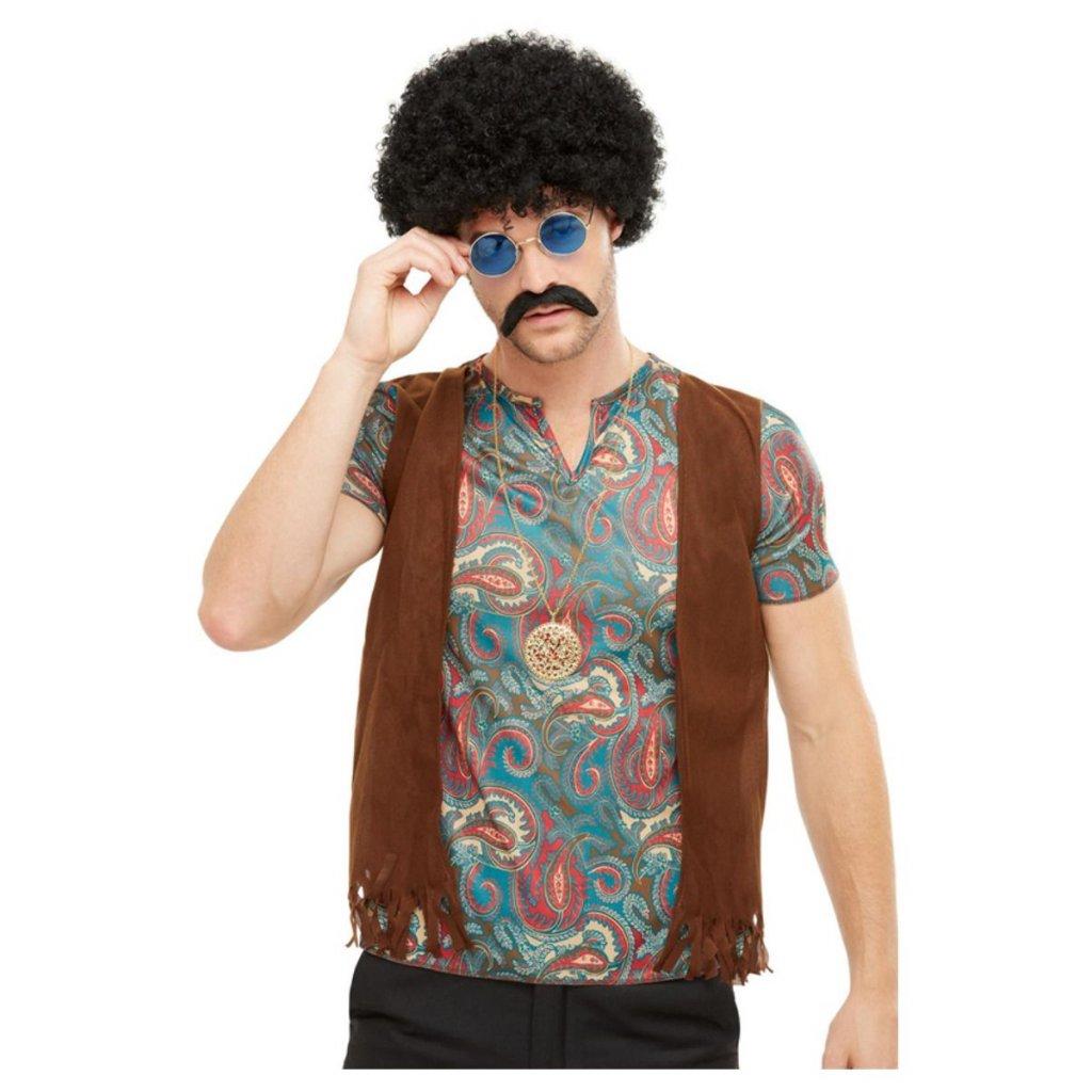 Sada hippie - paruka, knír, brýle a přívěsek
