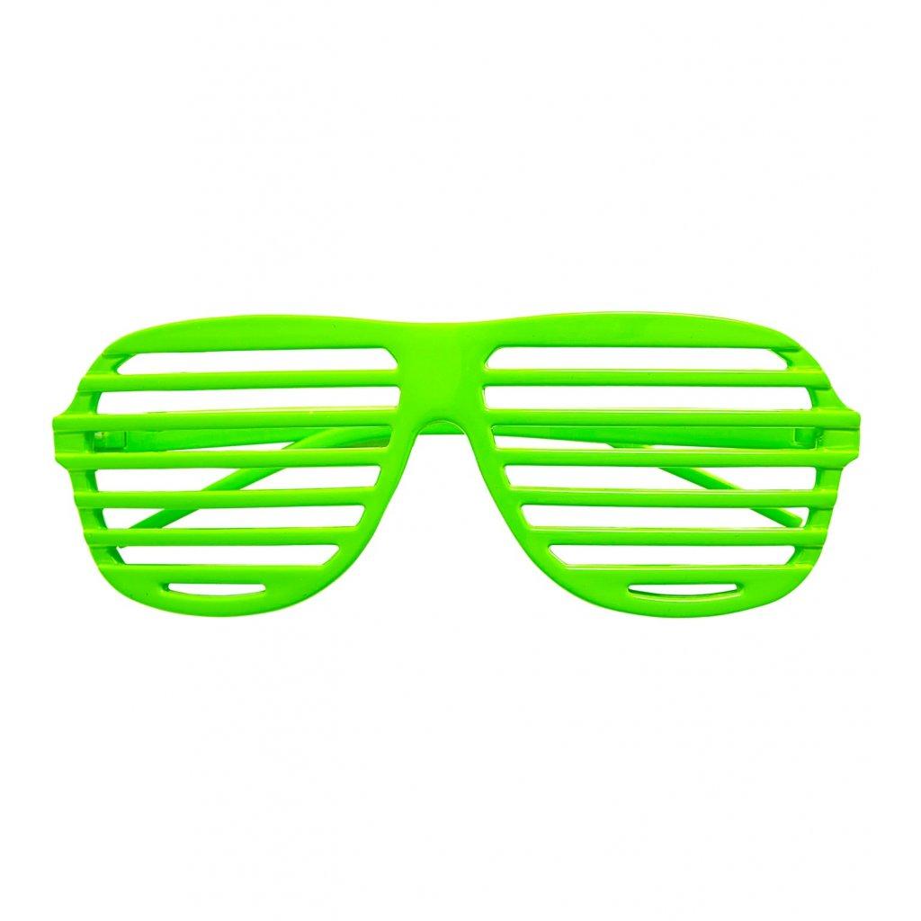 Neonově zelené brýle s mřížkou
