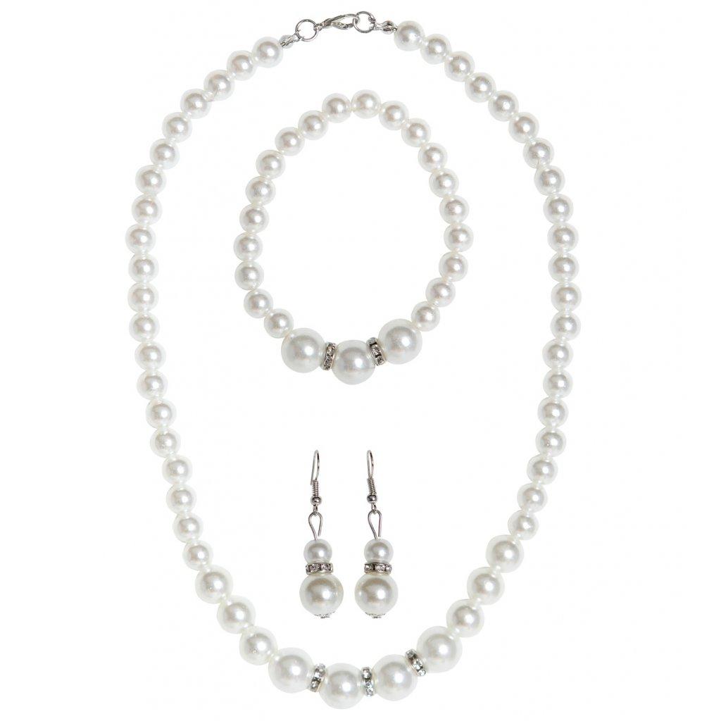 Perlový set náušnice náhrdelník náramek