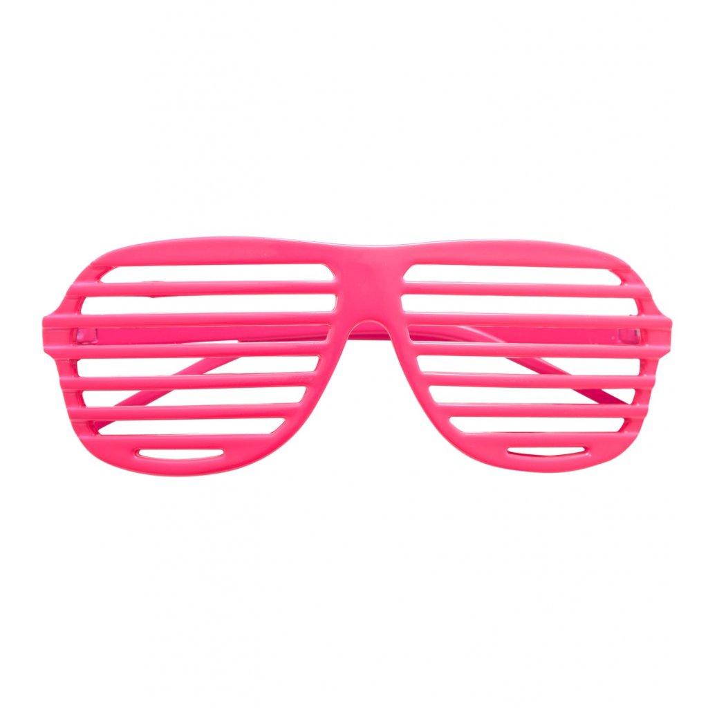 růžové neonově mřížkované brýle