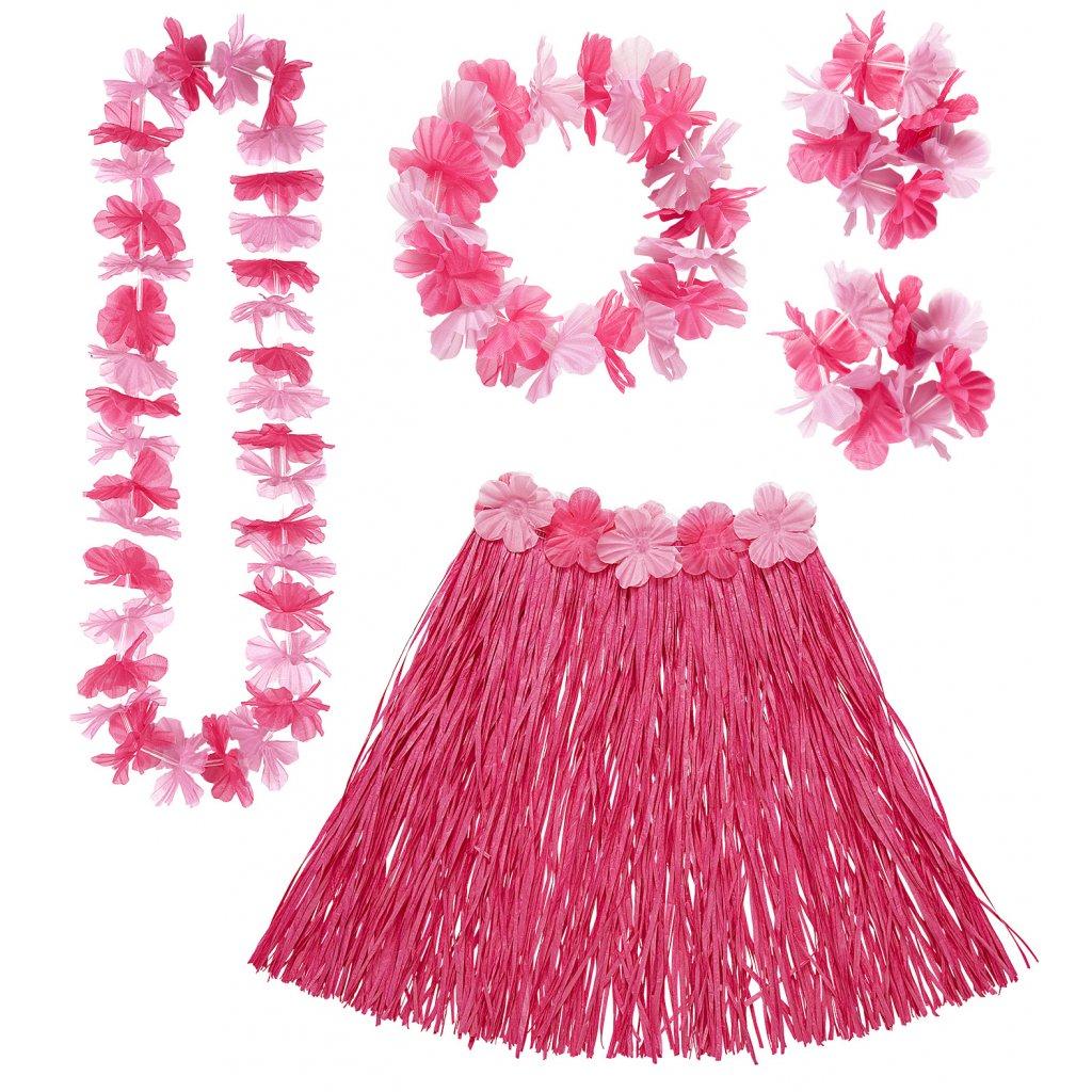 Hula hula set náramky věnec sukně růžová s