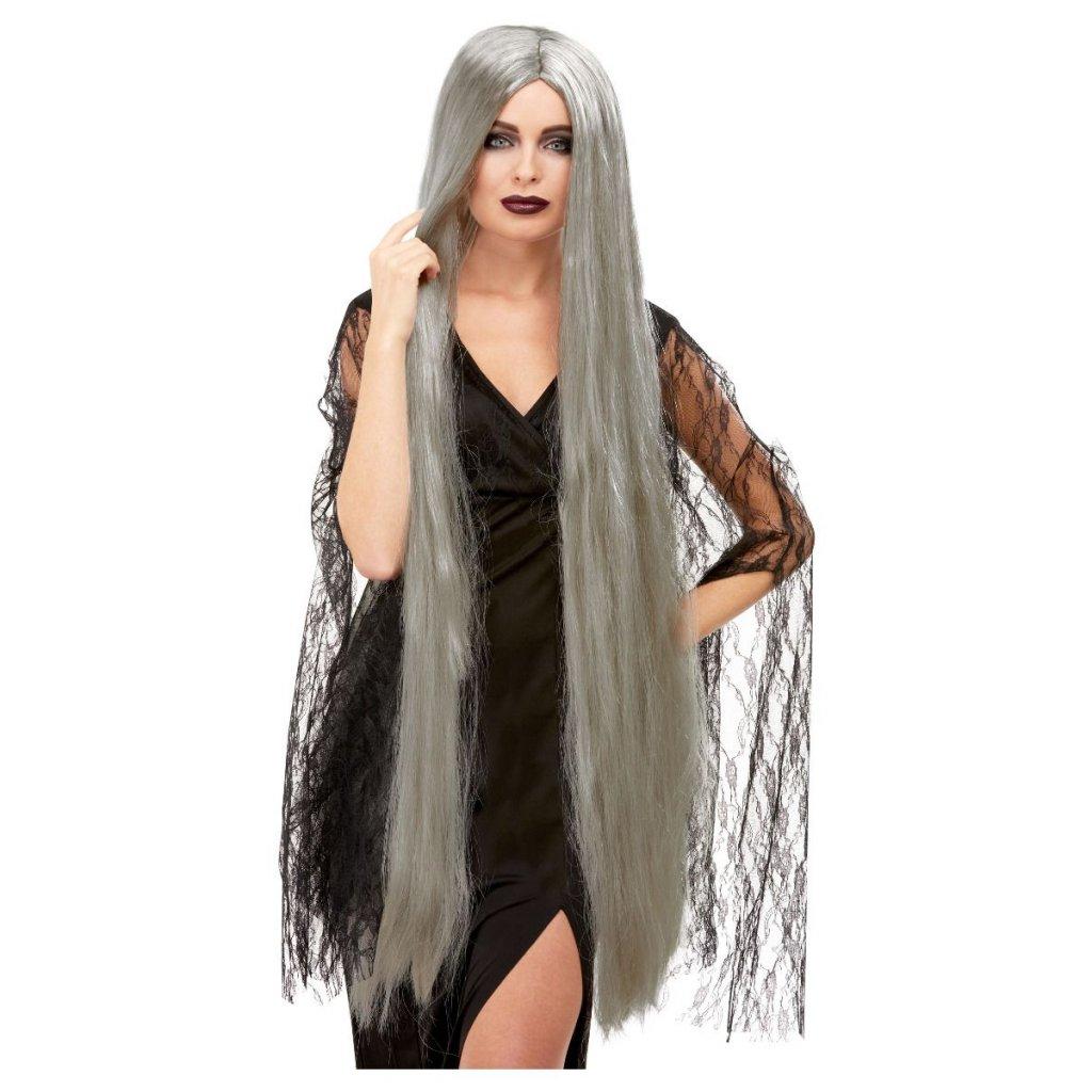 Čarodějnická paruka šedá extra dlouhá
