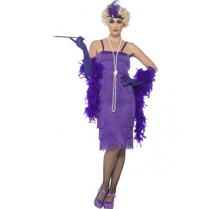 Fialové šaty s třásněmi 20. léta vel. S
