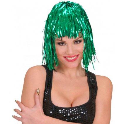 Alu lesklá paruka zelená