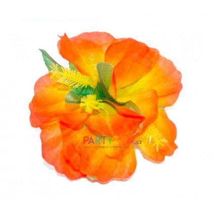 oranžová květina do vlasů