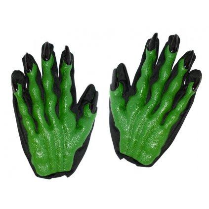 zelené gumové rukavice