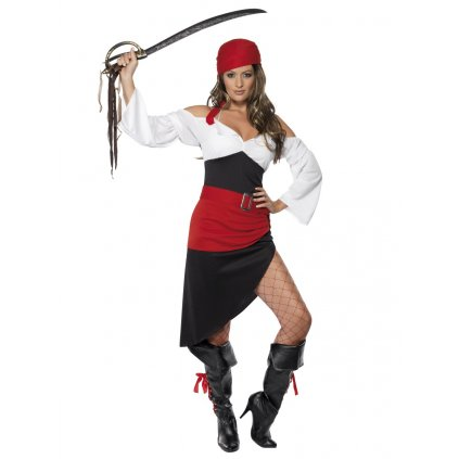 Dámský pirátský kostým červený