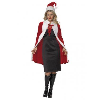 Červený plášť a čepice Santa Claus
