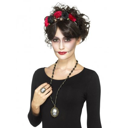 Náhrdelník a prsten Sugar Skull halloween