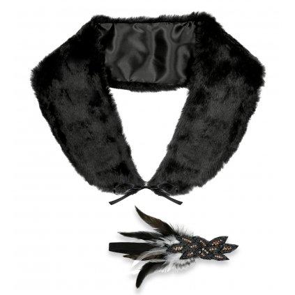 Černý kožíšek a čelenka 20. léta