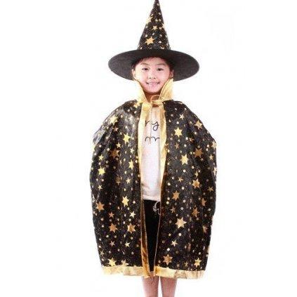 Černý plášť a klobouk Čaroděj