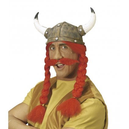 Galská helma s copánky a knírem
