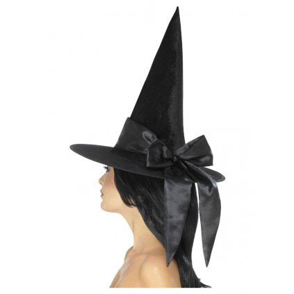 čarodějnický klobouk s černou stuhou