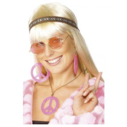 Hippie sada růžová čelenka brýle náhrdelník