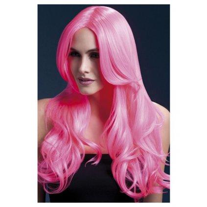 Profi růžová neon paruka Khloe