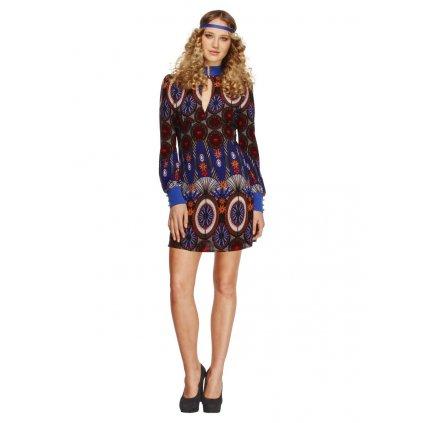 Hippies šaty vzorované paví