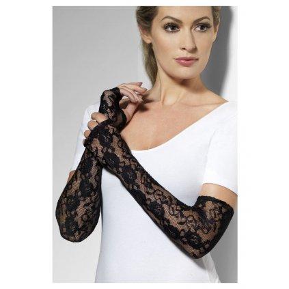 Dlouhé krajkové rukavičky černé