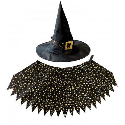 čarodějka sada klobouk, plášť