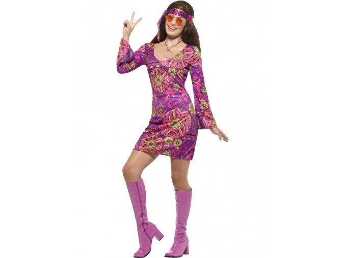 Kostým hippie růžové šaty