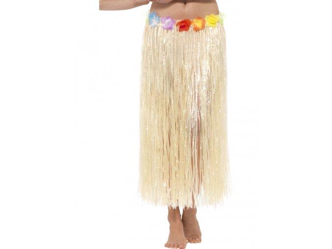 Havajská hula hula sukně béžová 80 cm