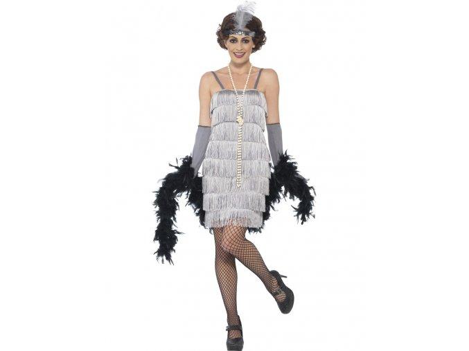 Charleston šaty 30. léta šedé