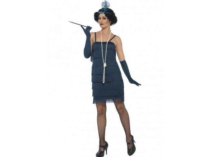 Charleston šaty modré tyrkys (vel. S)