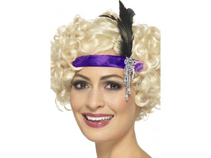 Čelenka do vlasů 20. léta fialová