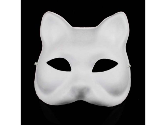 Bílá kočičí maska k domalování